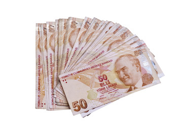 Fifthy turkish liras banknotes on the isolated white backgrounds
