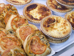 small quiches and pizzas