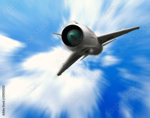 Military aircraft, fighter jet and blue sky