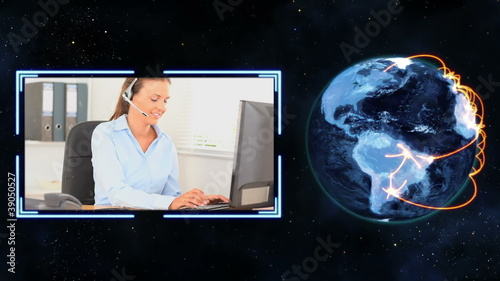 Earth turning next to a video of women making calls