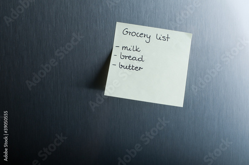Grocery list on the fridge