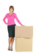 attractive businesswoman with big boxes
