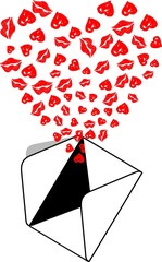 Envelope Kiss Love