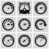 Circular gauges icons set. Circular gauges icons set.
