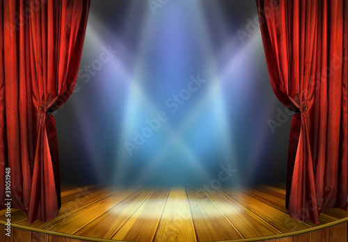 Theater stage with red curtains and spotlights - 39051948