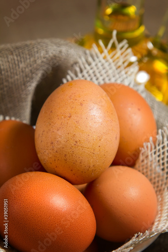 Brown eggs in sackcloth