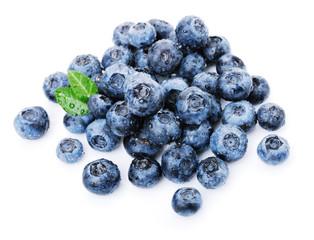 Blueberries on white
