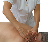 Sports massage applied to trapezius poster
