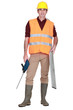 workman on white background