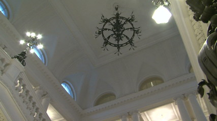 The white ceiling of the chandelier