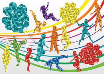 Colorful jumping children and balloon silhouettes