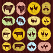 Farm animals market egg and meat labels food illustration