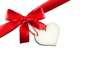 Rote Schleife mit Herzlabel