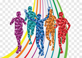 Marathon runners in colorful rainbow landscape