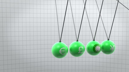 Green newton pendulum with different currencies on it
