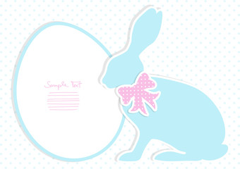 Blue Bunny With Pink Bow Dots Background