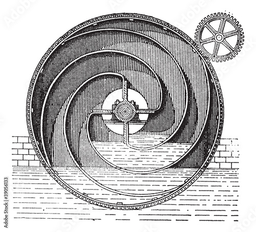 Turbine wheel, vintage engraving.