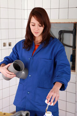 female technician working