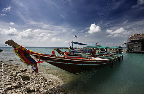 Thailand, Koh Phangan, local wooden fishing boats