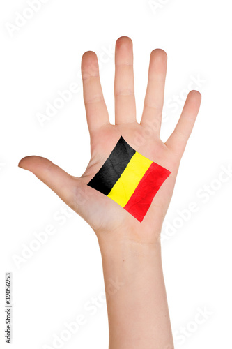 The Belgian flag painted on the palm. Poster
