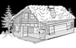 Snow Cabin - Black and White Cartoon Illustration