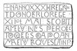 Inscriptions, Writing Carlovingian, vintage engraving.