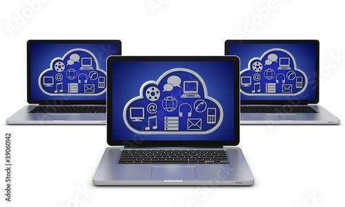 Laptop mit cloud