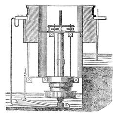 Inside of a turbine machine, vintage engraving.