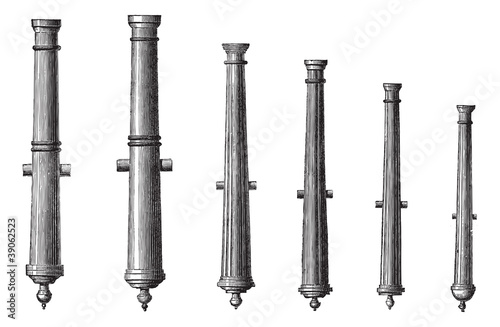 Six different types of cannon vintage engraving