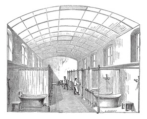 The hall for single bath in Hopital Saint-Louis in Paris France