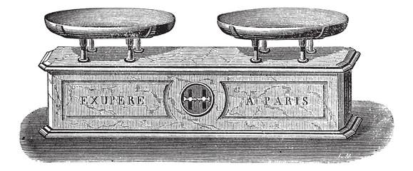 Balance pendulum scale vintage engraving