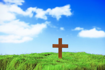 wood cross on green grass