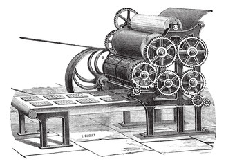 Biscuit (Hardtack) making machine vintage engraving