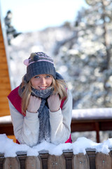 young woman on a winter vacation