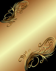 illustration  background with gold(en) vegetable ornament