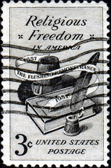 Religious Freedom in America. Us Postage. 1657-1957.