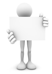 3D person holding a big blank business card or signage board