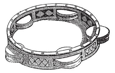Tambourine or Marine, vintage engraving.