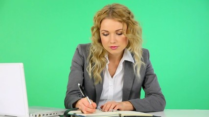 Businesswoman writing on agenda