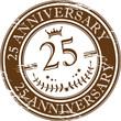 Stamp 25 anniversary, vector illustration