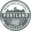 Stamp with name of Oregon, Portland, vector i