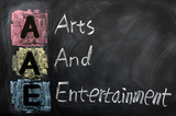 Acronym of AAE for Arts and Entertainment poster