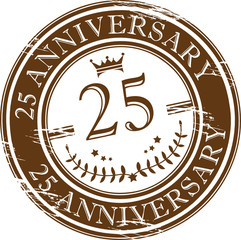 Stamp 25 anniversary, vector illustration