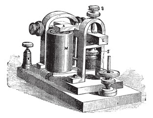 Fig. 10. Speaker. - A frame, L, rod, M, electromagnet; SS screws