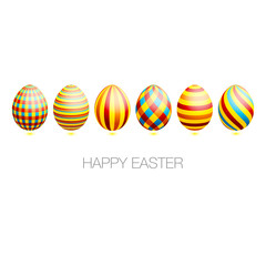 Easter Card 6 Easter Eggs Check/Stripes Pattern
