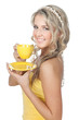 Young happy woman with cup of coffee or tea over white