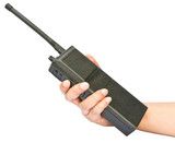 A walkie-talkie in hand