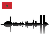 Detailed vector Casablanca silhouette skyline with Flag