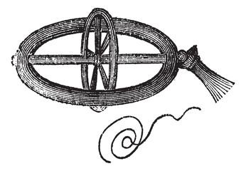 Armillary Top, vintage engraving