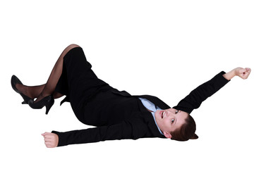 Businesswoman rolling on the ground